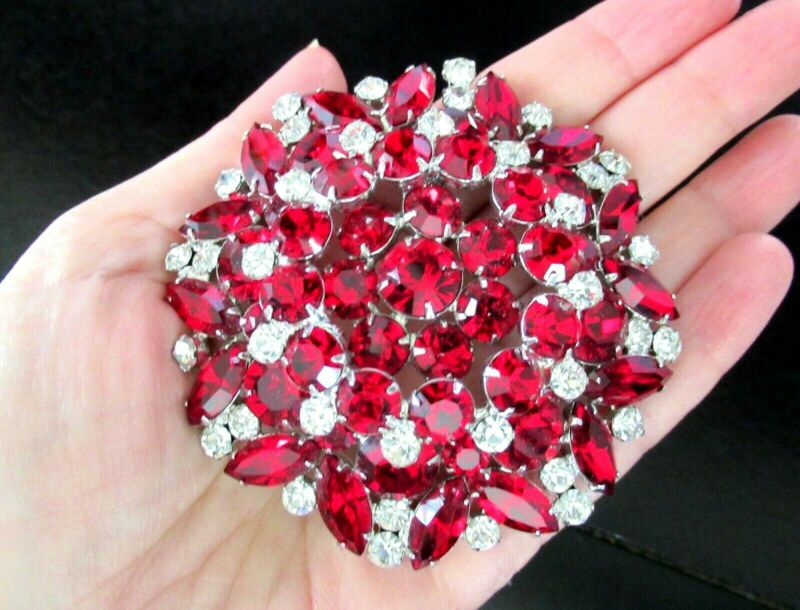 JULIANA MASSIVE Ruby Red & Sparkling Ice Rhinestone Vintage Pin Brooch