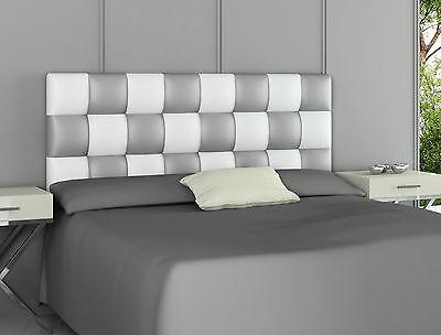 Hogar24.es-Cabecero tapizado polipiel PATCHWORK Plata y Blanco 160cmx60cmx3cm