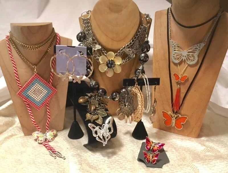 BUTTERFLY Mixed Jewelry Lot-Enamel Brooch -Statement Necklaces-Earrings-Bolo a96