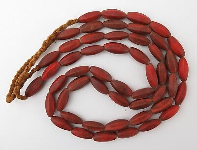 Glass trade bead necklaces. North Indian 'Czech' red glass faceted beads.