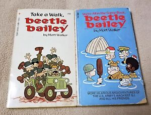 Lot of 2 BEETLE BAILEY Comic Strip Paperback Books MORT WALKER 1973 1976 GUC