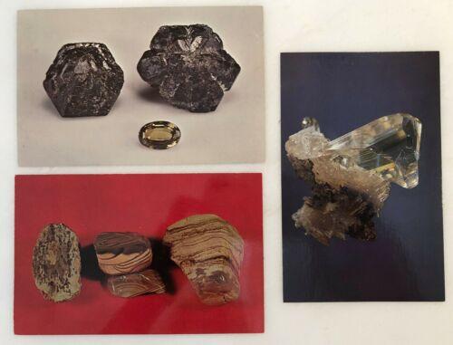 3 CRYSTAL Chrysoberyl Alexandrite CHERT Cerussite POSTCARD Vintage Rock Mineral