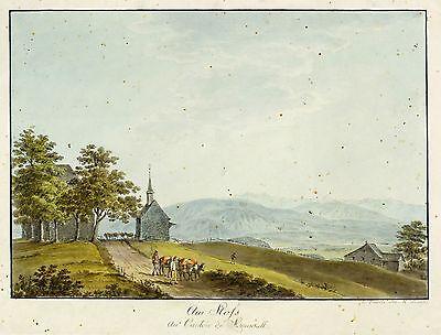 STOSS AR - SCHLACHTKAPELLE - Heinrich Füssli - kolorierte Umrissradierung 1796