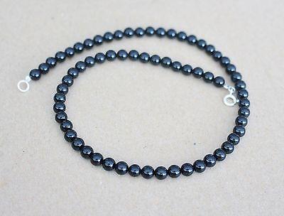 Echte Mondstein  edelstein  kette 6 mm pdm-8 45 cm Silber