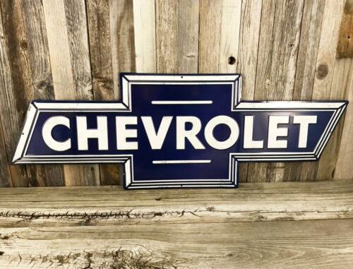 "Chevrolet Chevy Emblem Large Bow Tie 28"" Embossed Metal Tin Sign Man Cave New"