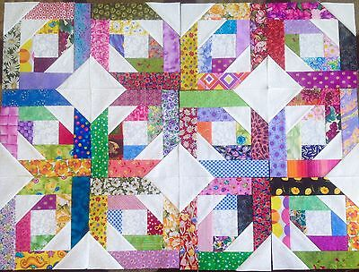 12 Scrappy Bright Stars Quilt Blocks 100% Cotton made in USA