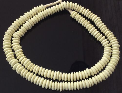 Ghana Ashanti handmade Recycled Glass Opaque Egg shell White Disk Beads-Ghana