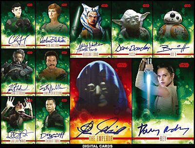 Topps Star Wars Trader STELLAR SIGNATURES Wave 2 [11 CARD RED SIGNATURE SET]