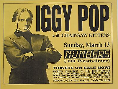 IGGY POP / CHAINSAW KITTENS 1994 HOUSTON CONCERT TOUR POSTER - Rock Music