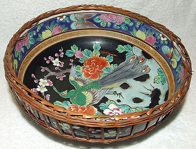 ANTIQUE NIPPON ENAMELED BIRD OF PARADISE FLOWERS & APPLE BLOSSOM RATTAN BOWL