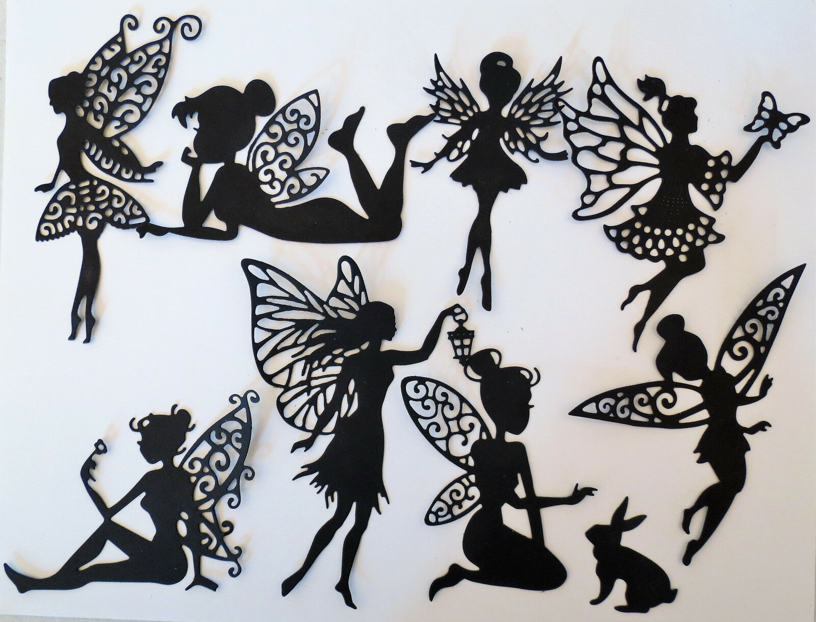 Fairies Fairy Intricate Paper Die Cut Embellishments scrapbooking 8 pc Black
