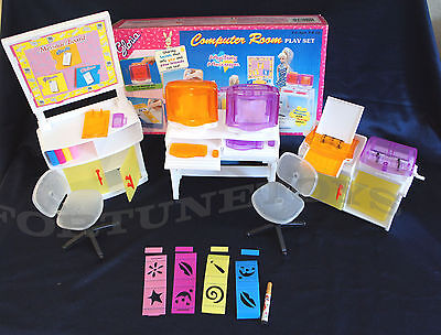 GLORIA DOLLHOUSE FURNITURE Computer Room SET W/ Printer Utensils FOR BARBIE