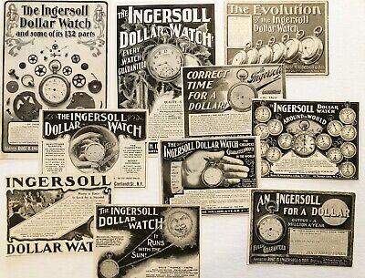 1890s INGERSOLL DOLLAR POCKET WATCH Parts Vtg Print Ads~Steampunk Art/ReSell Lot