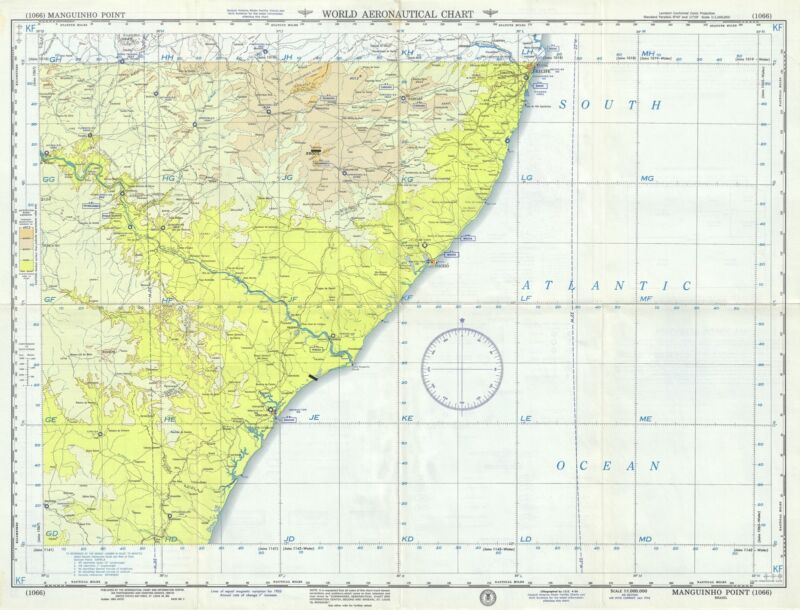 1956 U.S. Air Force Aeronautical Map of the Eastern Coast of Alagoas, Brazil