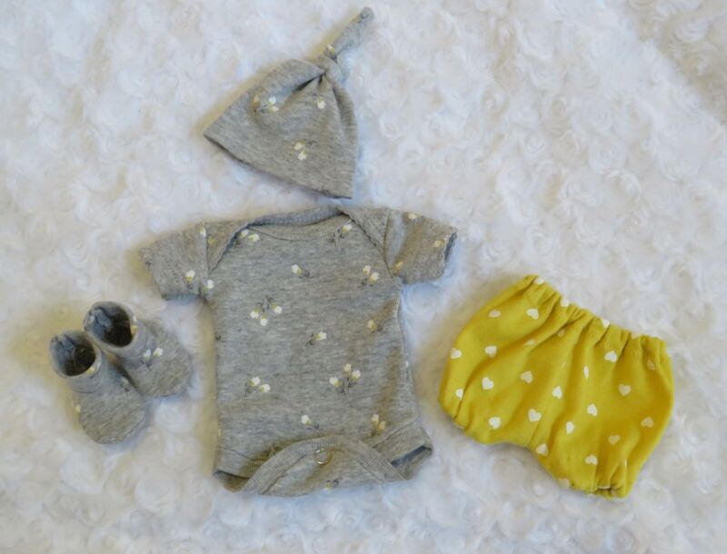 Micro Preemie 10-11 inch reborn doll clothes bodysuit,shorts,hat,booties