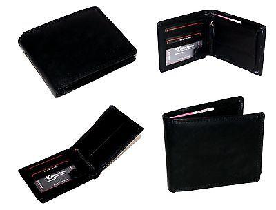 Herren Damen Leder Geldbörse Portmonee Portemonnaie Brieftasche Schwarz / 103 W