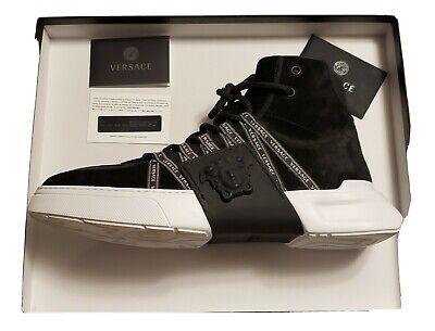Authentic Versace Men's Black Leather Medusa Fashion Sneakers Size 43/9.5 $995
