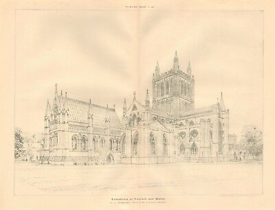 1892 ANTIQUE ARCHITECTURAL PRINT-CATHEDRAL-HEREFORD