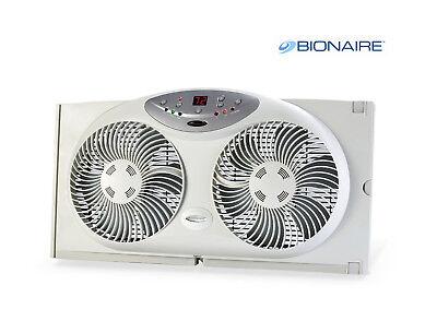 Bionaire Digital Twin Reversible Airflow Window Fan w/ Remote Control Mark New