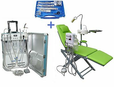 Portable Dental Unit With Air Compressor Dental Chair Handpiece Kit 2h4h