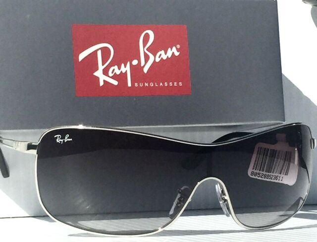 ray ban 3466 sunglasses  new* ray ban shield in silver frame with gray gradient sunglass rb 3466 $200