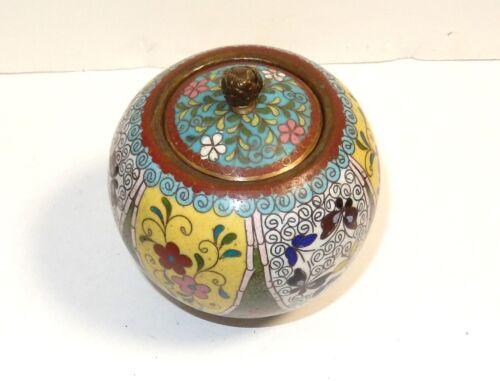 RARE OLD JAPANESE CLOISONNE YELLOW FLORAL ENAMEL JAR BOX