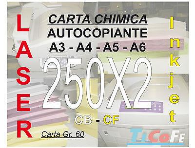 Carta CHIMICA autocopiante A3 250x2 * CB CF * carbone ddt ricevute stampa