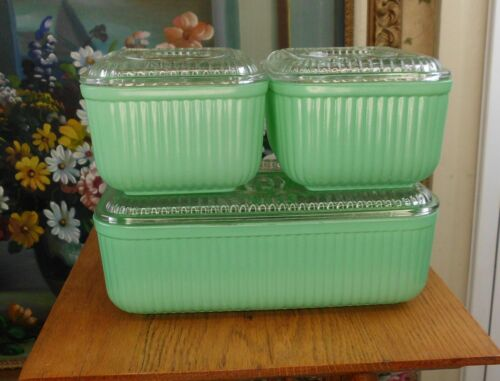 Anchor Hocking RARE GREEN FIRED ON Ribbed GLASS Refrigerator 3 PIECE DISH SET