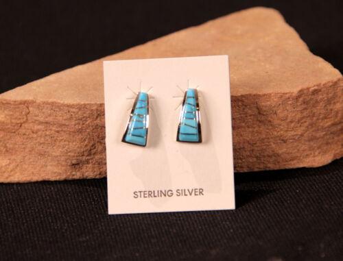 "New Zuni Turquoise Inlaid in Sterling Silver Post Earrings by Darren Tsalate 1"""