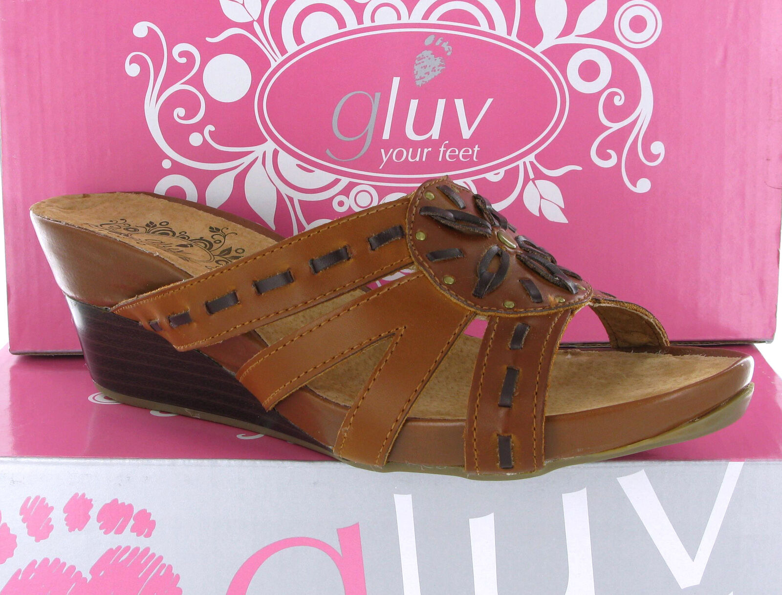 8ba25514b9fb Details about LADIES GLUV LEATHER SANDALS TAN WOMENS SLIP ON COMFORT WEDGE  SHOES UK 6 EU 39