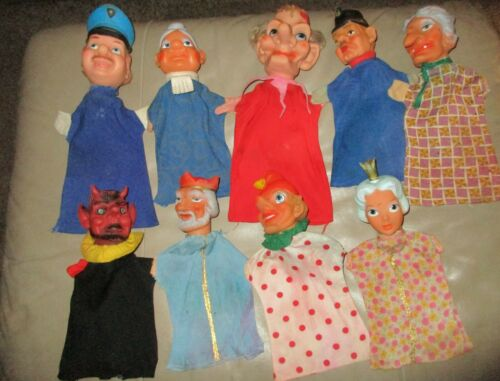VINTAGE HAND PUPPETS-RUBBER HEAD-CLOTH BOTTOM LOT OF 9