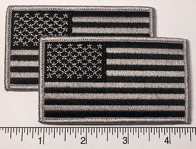 """Pair : American Flag GREY Embroidered Patch 3.5x2"""" - Patriot"""