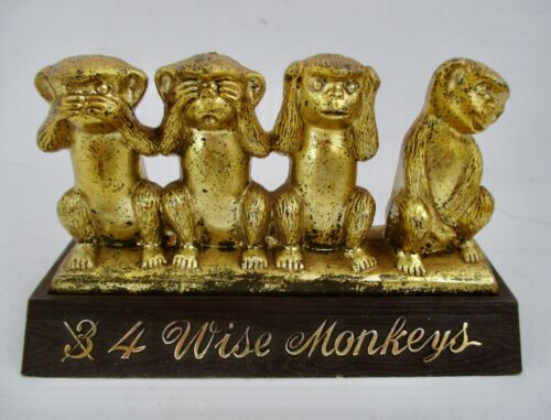 VTG 1960s 4 Wise Monkeys Plastic Figurine Speak Hear See Touch No Evil Hong Kong