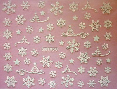 Christmas Matte White Snowflakes Tree Star Nail Art Stickers Decals Transfers 50