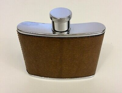 VINTAGE GUCCI BROWN LEATHER/ SS FLASK EXCELLENT COLLECTIBLE CONDITION