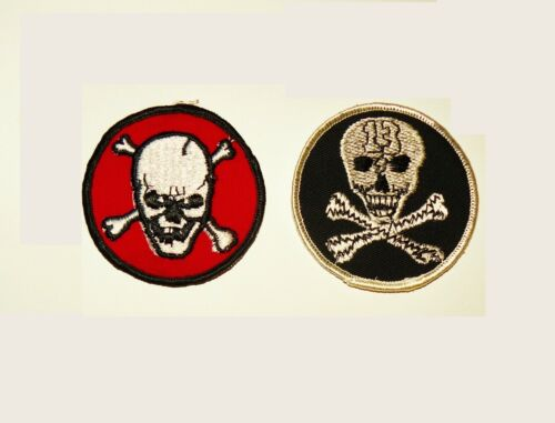 Pair 60s Skull Motorcycle Patch vtg knucklehead panhead jacket car club hot rod