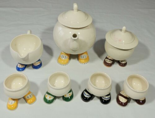 Carlton Ware Lustre Design Walking Ware Teapot Sugar Bowl Creamer 4 Egg Cups EUC