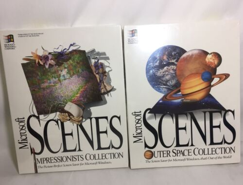 Vintage 1993 Microsoft Scenes Outer Space & Impressionists Collection NEW SEALED