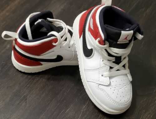 Nike Air Jordan 1 Retro Mid TD White Black Red Boys Shoes Size 8C Toddler baby