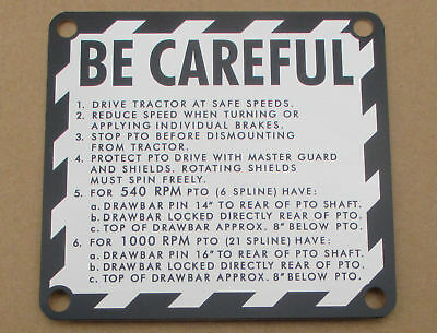 Be Careful Caution Plate For John Deere Jd 1010 2010 2510 2520 3010 3020 4000