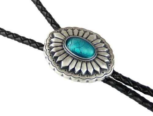 """Southwestern Turquoise Bolo Tie Real Silver Plated 38"""" Adjustable Leather Cord"""