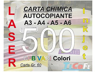 Carta CHIMICA autocopiante A3 500 CFB * carbone ddt ricevute stampa laser inkjet