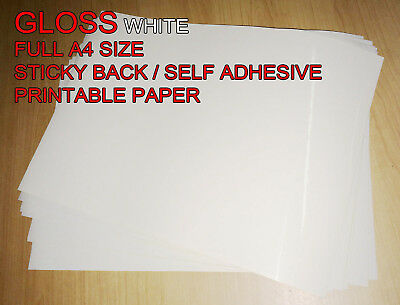 100 X A4 Blank White Gloss Self Adhesive Sticker Paper Sheet Label 1st Class