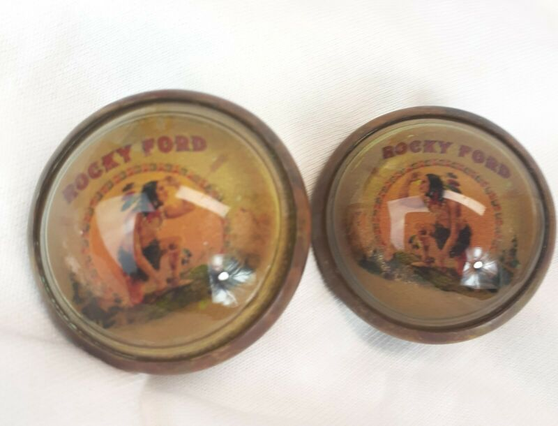 Pair vintage glass domed rosettes Rocky Ford