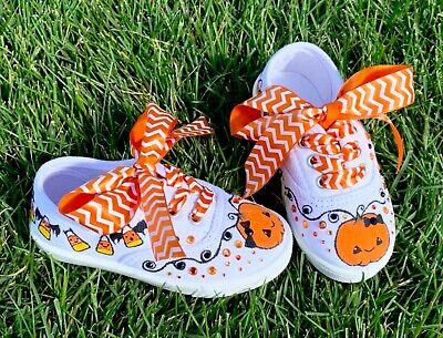 Toddler Halloween Customes (NEW Custom Painted Halloween Pumpkin Rhinestone toddler Girl Canvas Shoes Size)