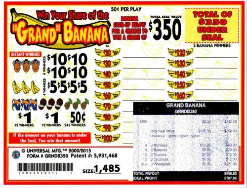 50c 1485ct 5W GRAND BANANA seal card Bingo Pull Tab Tip Board ($350)