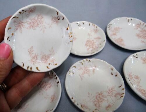 Set of 6 Vtg J & G Meakin Semi Porcelain Pink Rose Peony Flower Butter Pats