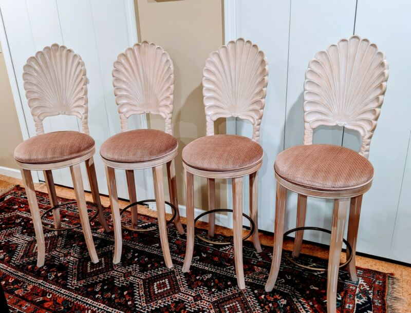 4  ITALIAN VENETIAN Shell Scalloped Back Carved Wood Barstools Chairs