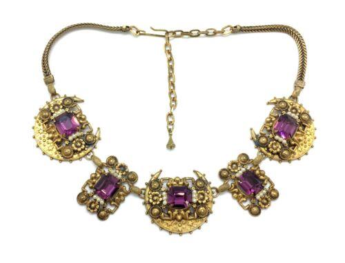 Antique Art Nouveau Gilded Faux Seed Pearl & Amethyst Paste Choker Necklace
