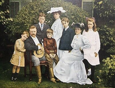 1904 ANTIQUE President TEDDY ROOSEVELT FAMILY at OYSTER BAY Pach Bros Political